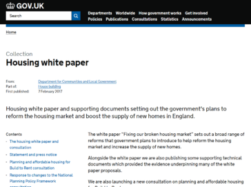Front page of the Housing White Paper on the Retirement Housing Group website