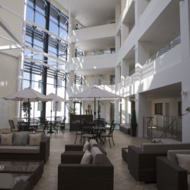 Large atrium at Honeybourne Gate, Cheltenham (Oak Retirement)